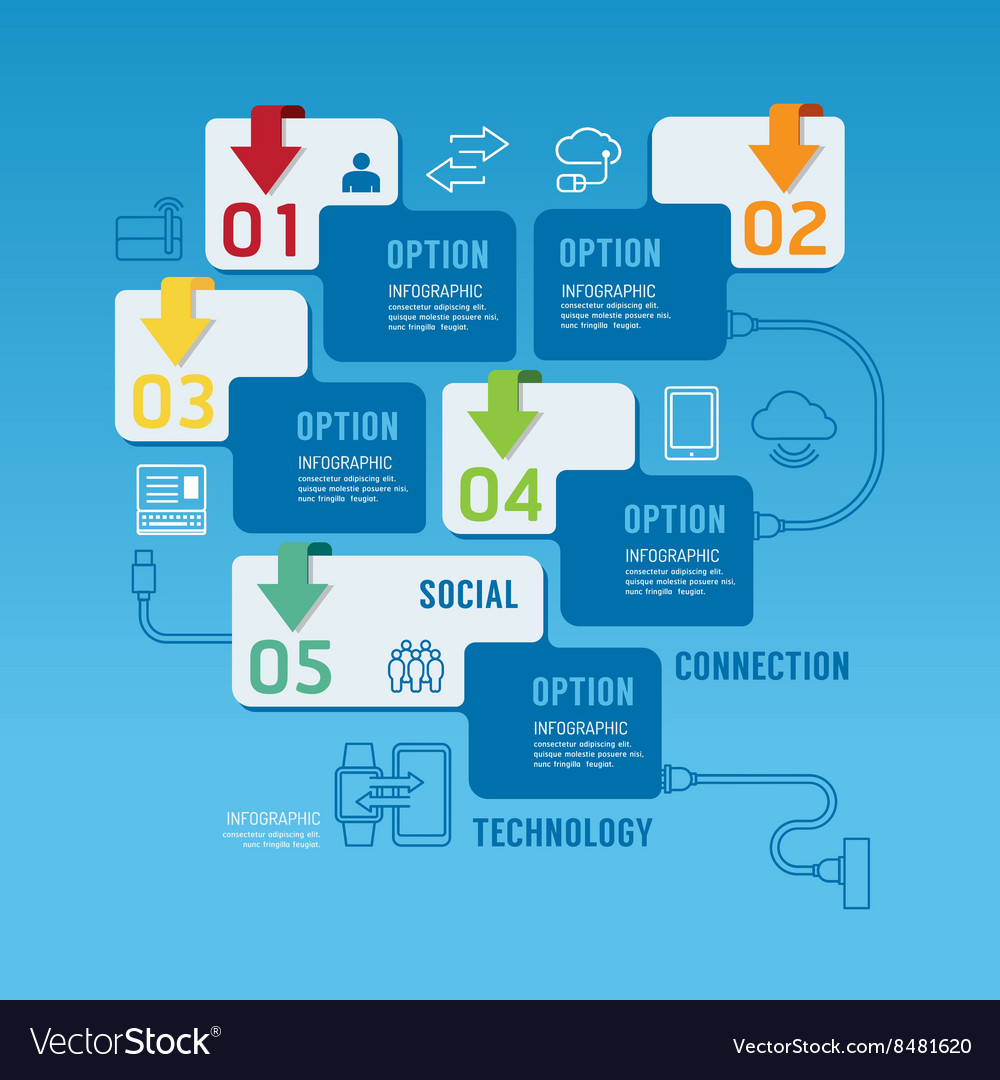 Technology infographics design options banner