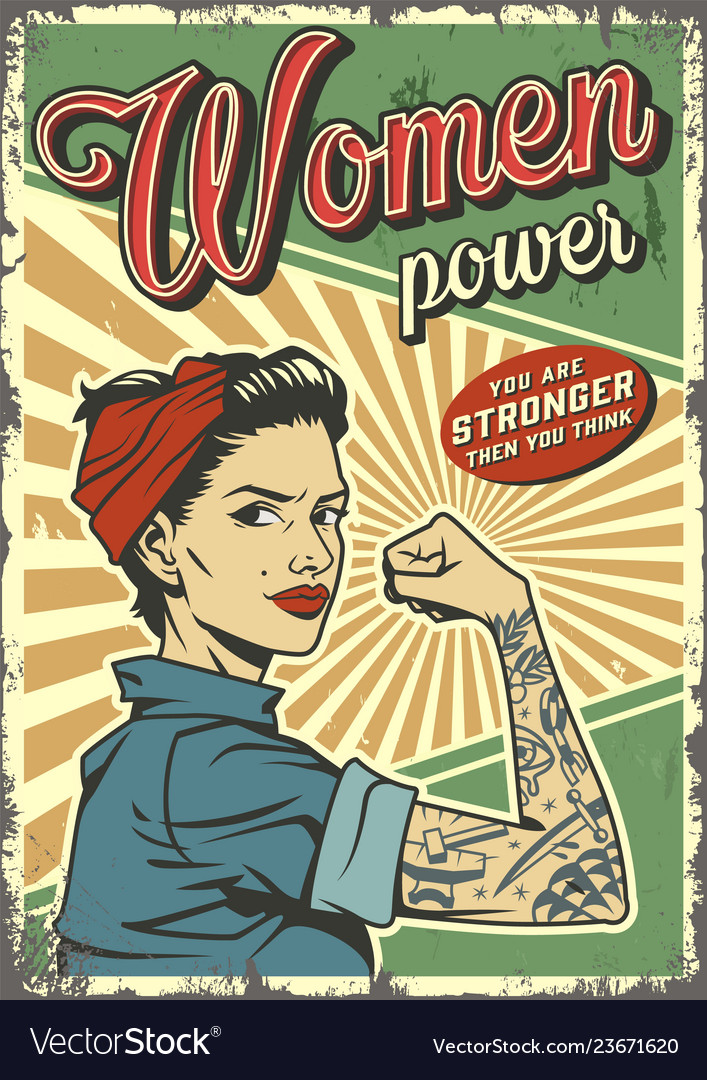 Vintage woman power colorful poster