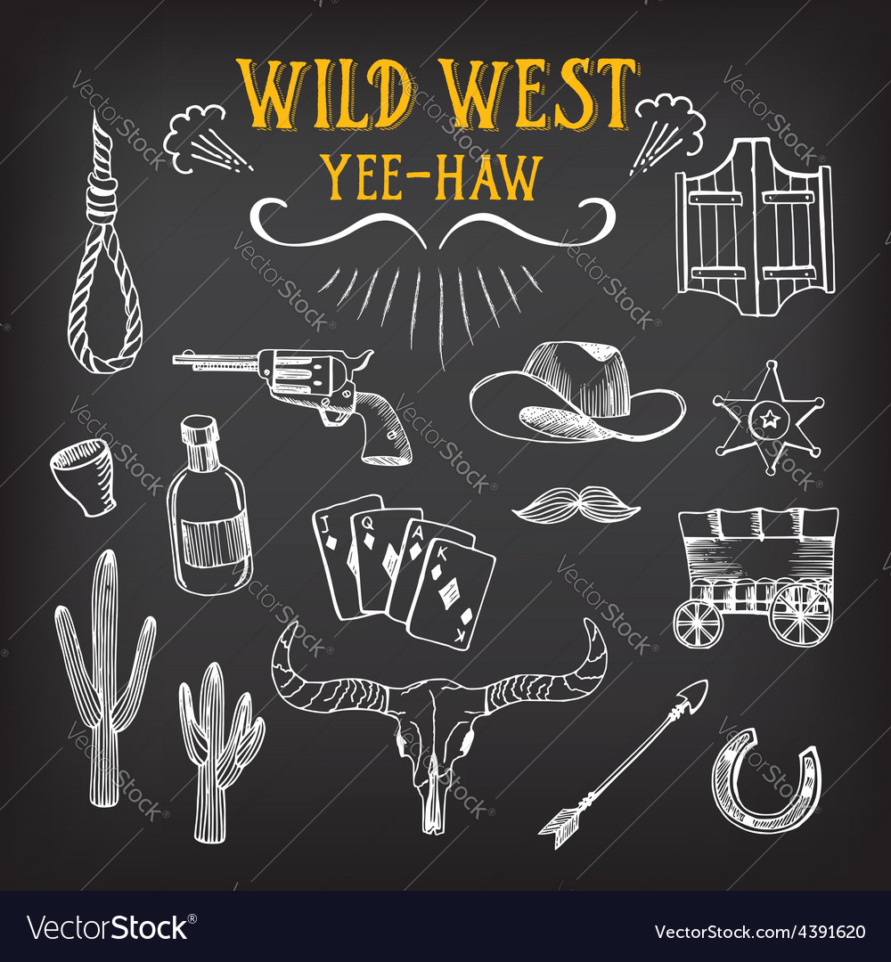 Wild west design sketch icons drawing vintage