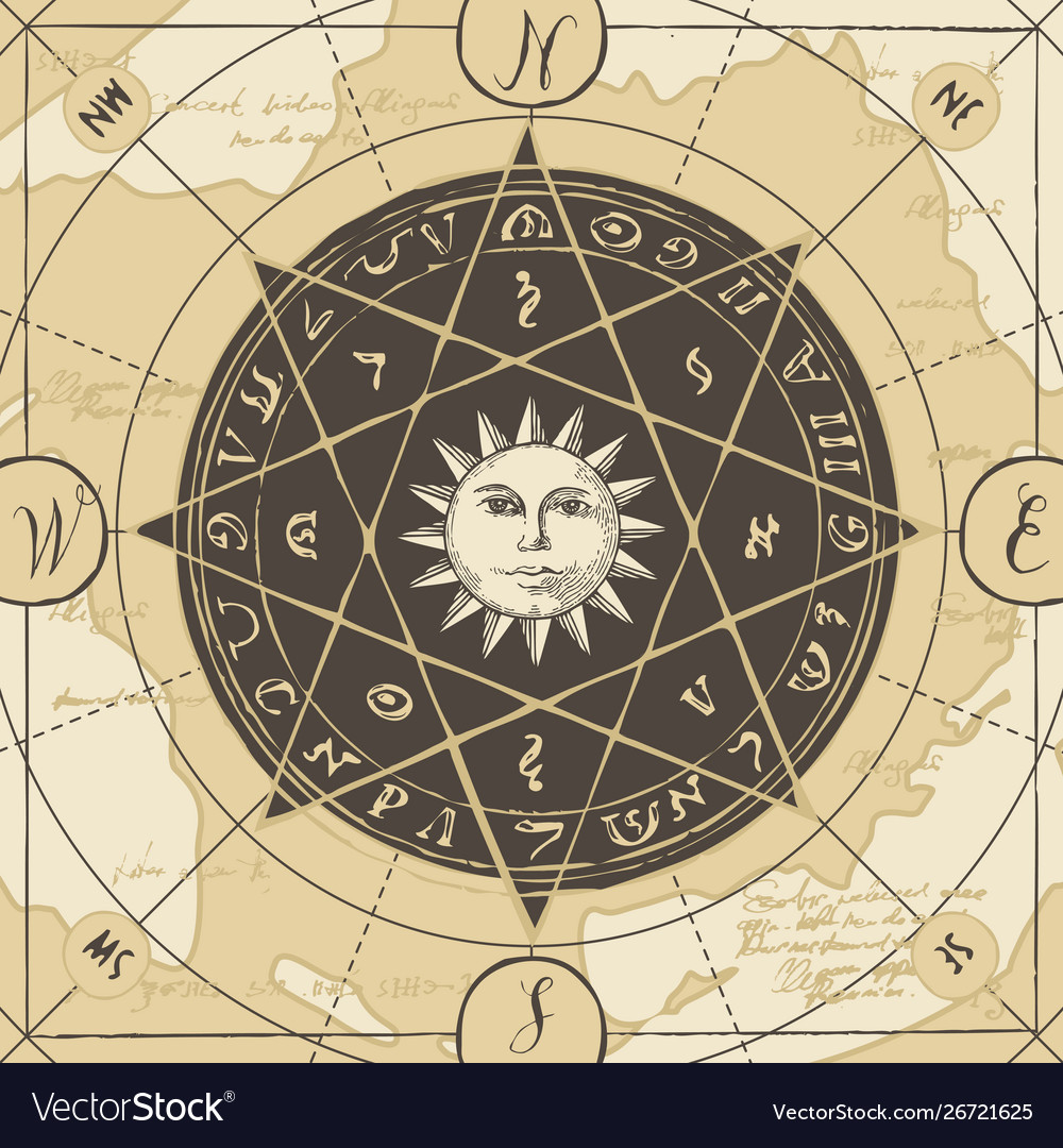 Banner with sign sun and wind rose