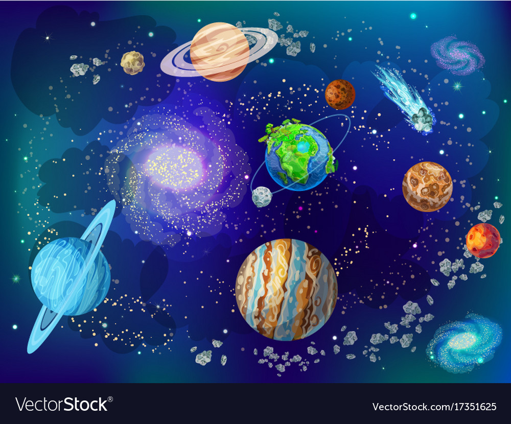 Cartoon Scientific Space Background Royalty Free Vector