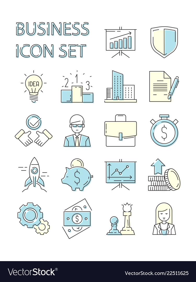 Colored business icon responsive symbols set data