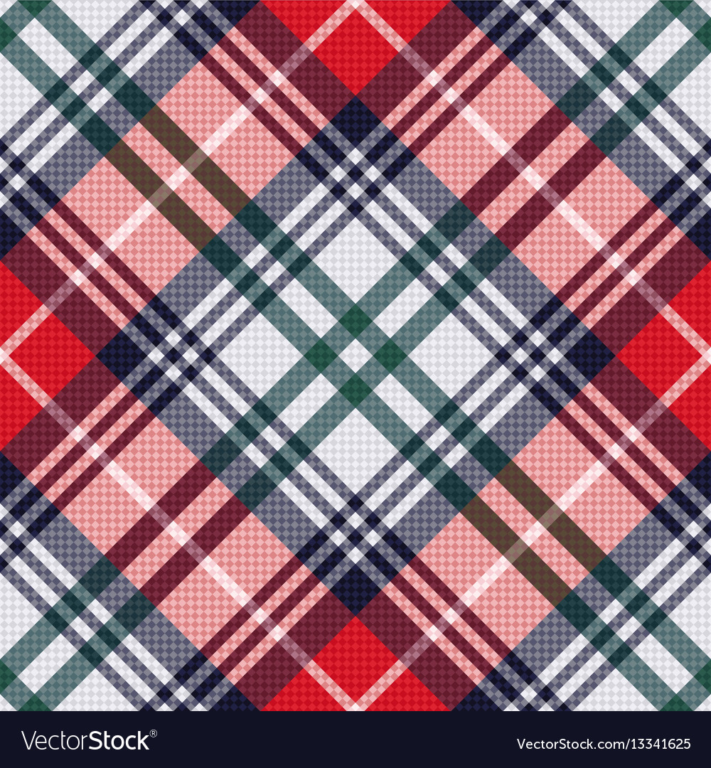 Diagonal tartan seamless texture in red and light
