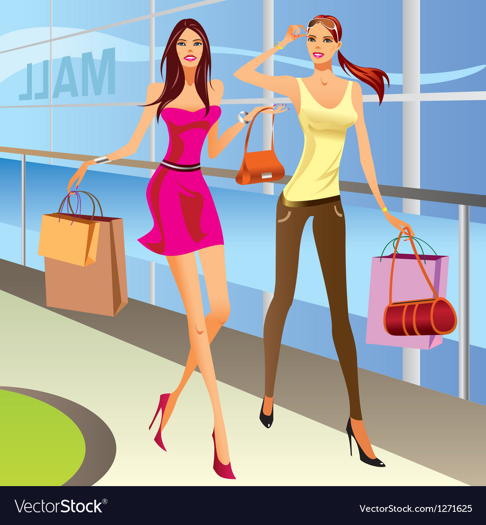 Fashion shopping girls with bags