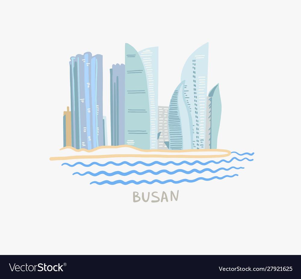 Modern buildings skyscrapers on busan embankment