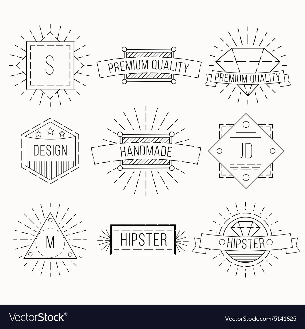 outline badges and emblems template royalty free vector
