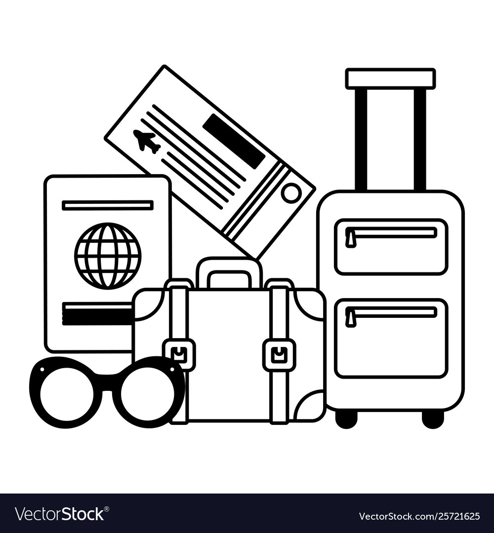 Vacations suitcase passport sunglasses ticket