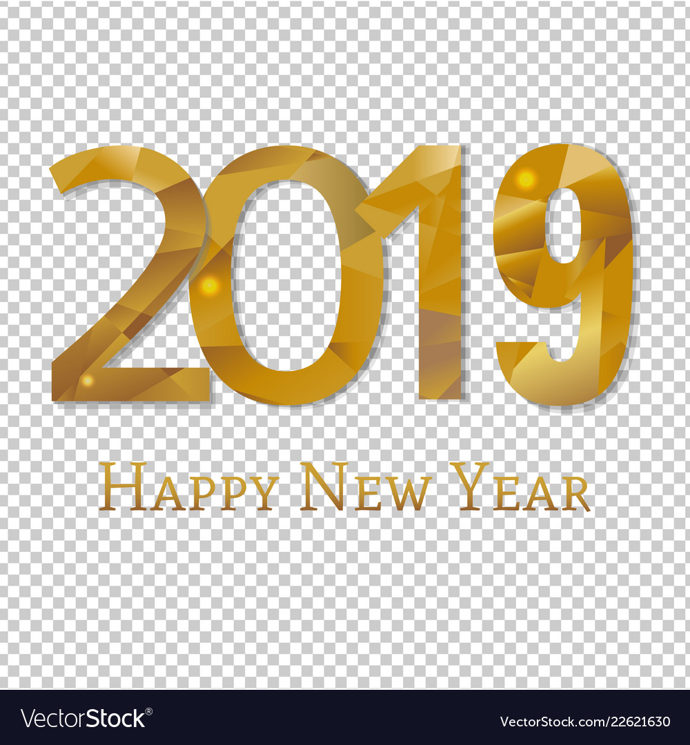 2019 new year poster transparent background vector image