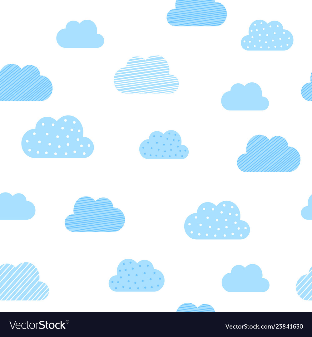 f50d5d211456 Baby boy blue clouds pattern background baby Vector Image