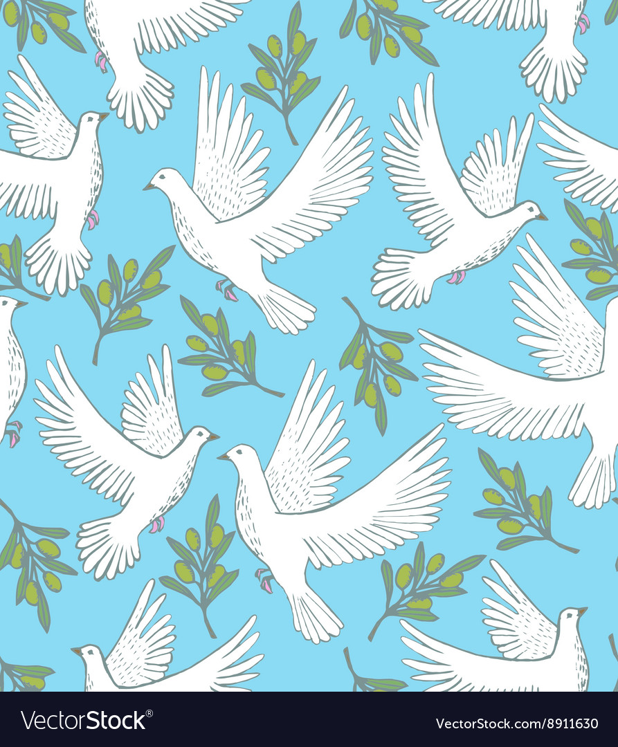Background with doves and olive branches