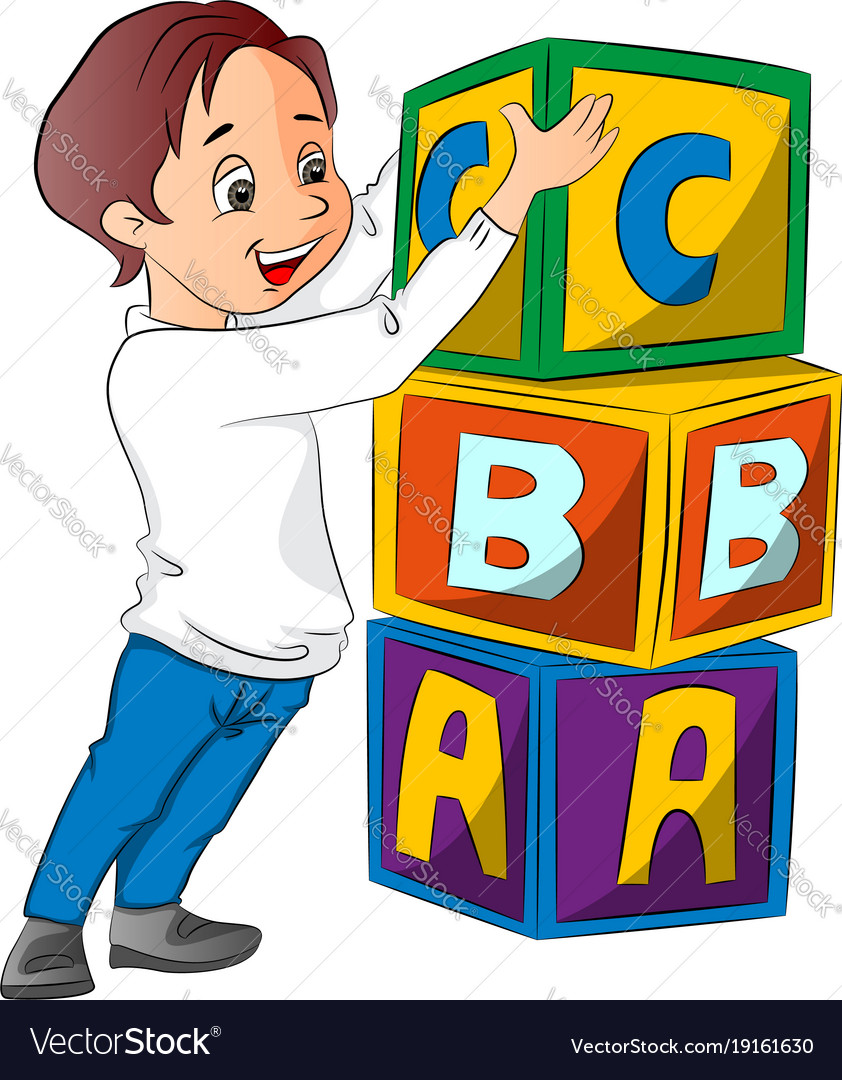 Boy stacking alphabet blocks vector image