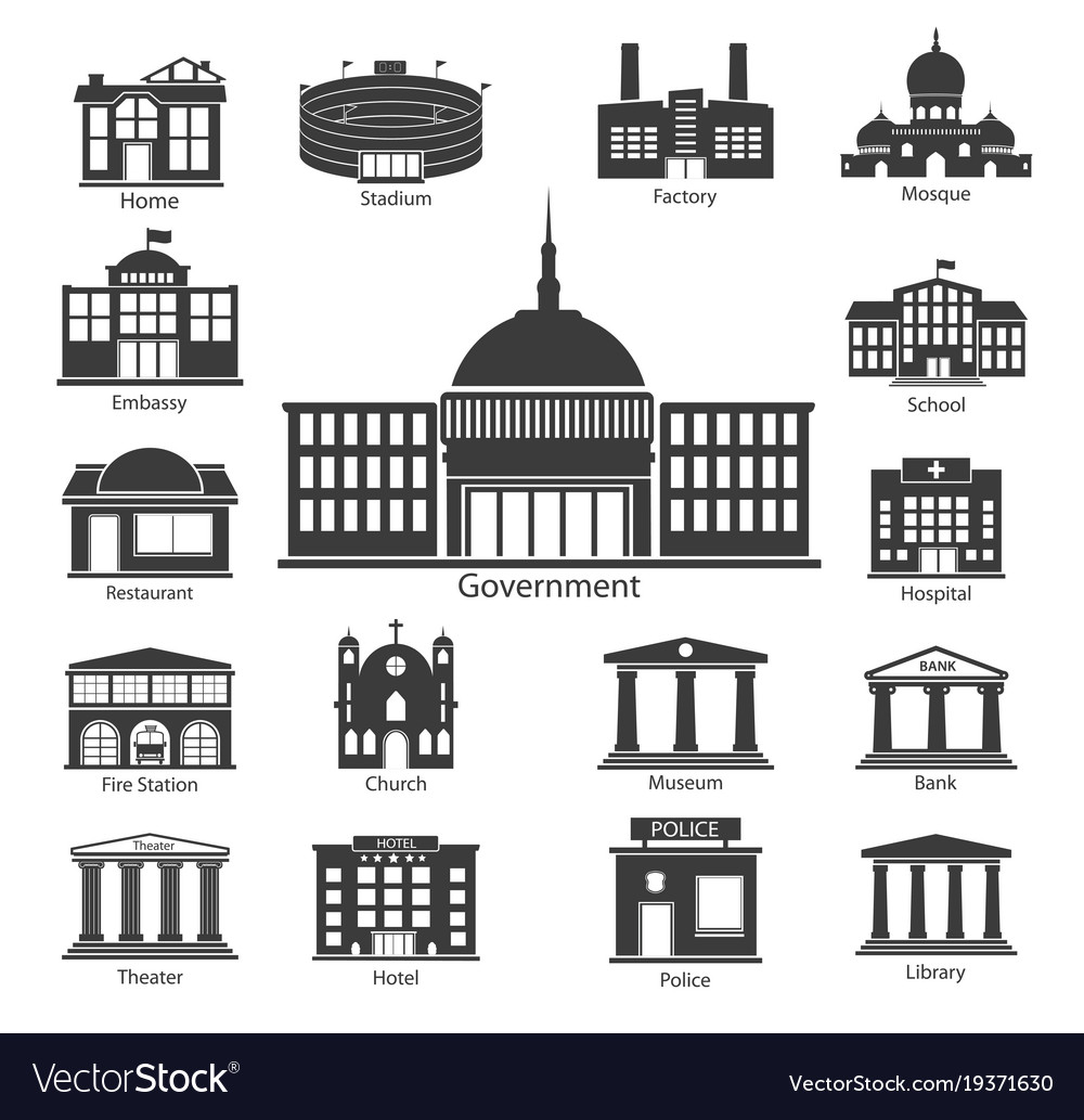 Building icons set government buildings