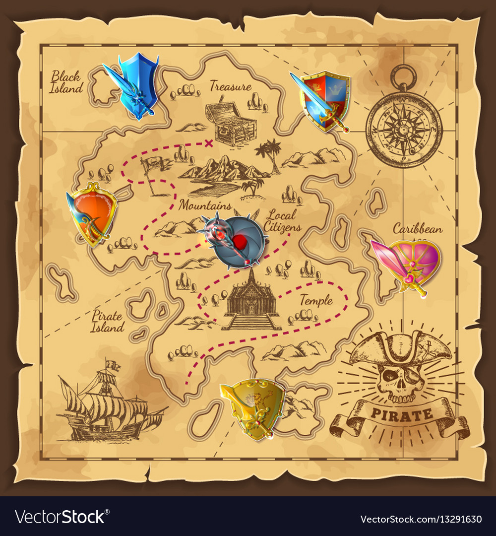 cartoon island map template royalty free vector image