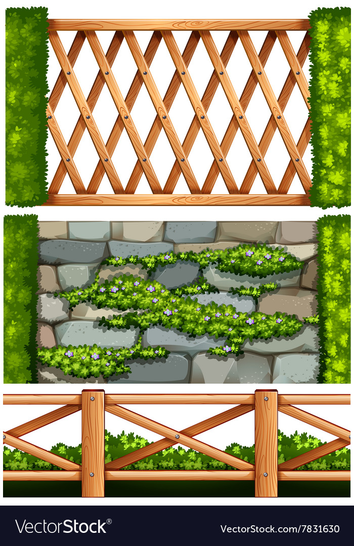Fence Design With Wooden And Stone Vector Image