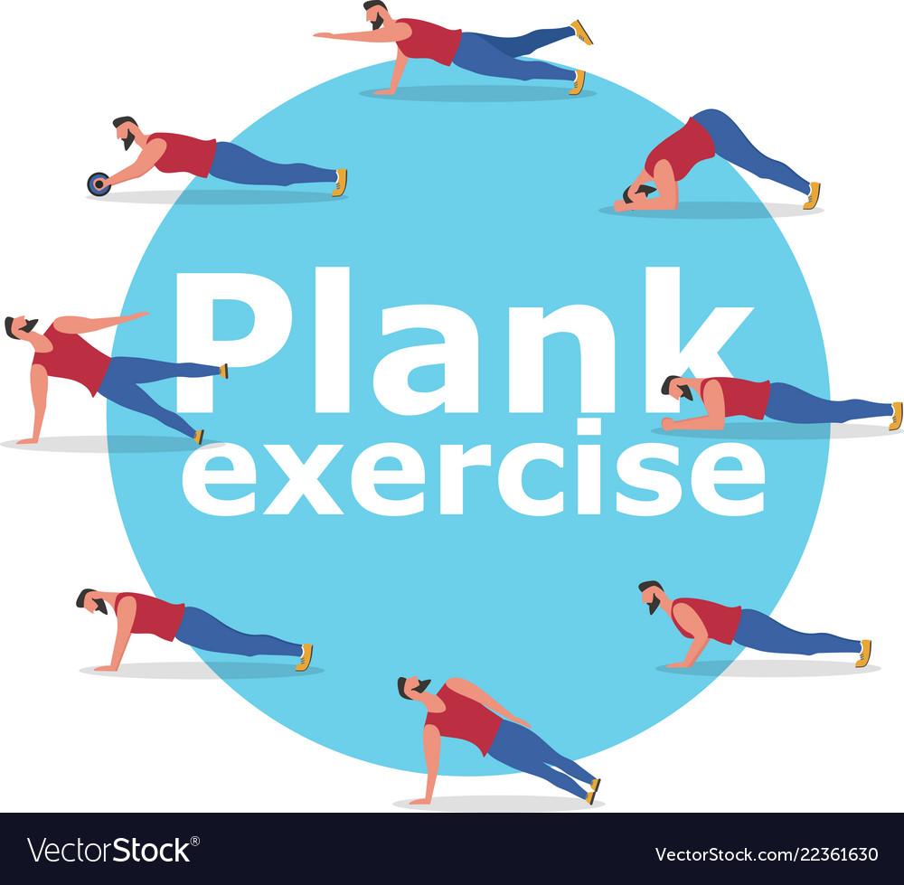 Fitness Man Doing Planking Exercise Banner Vector Image