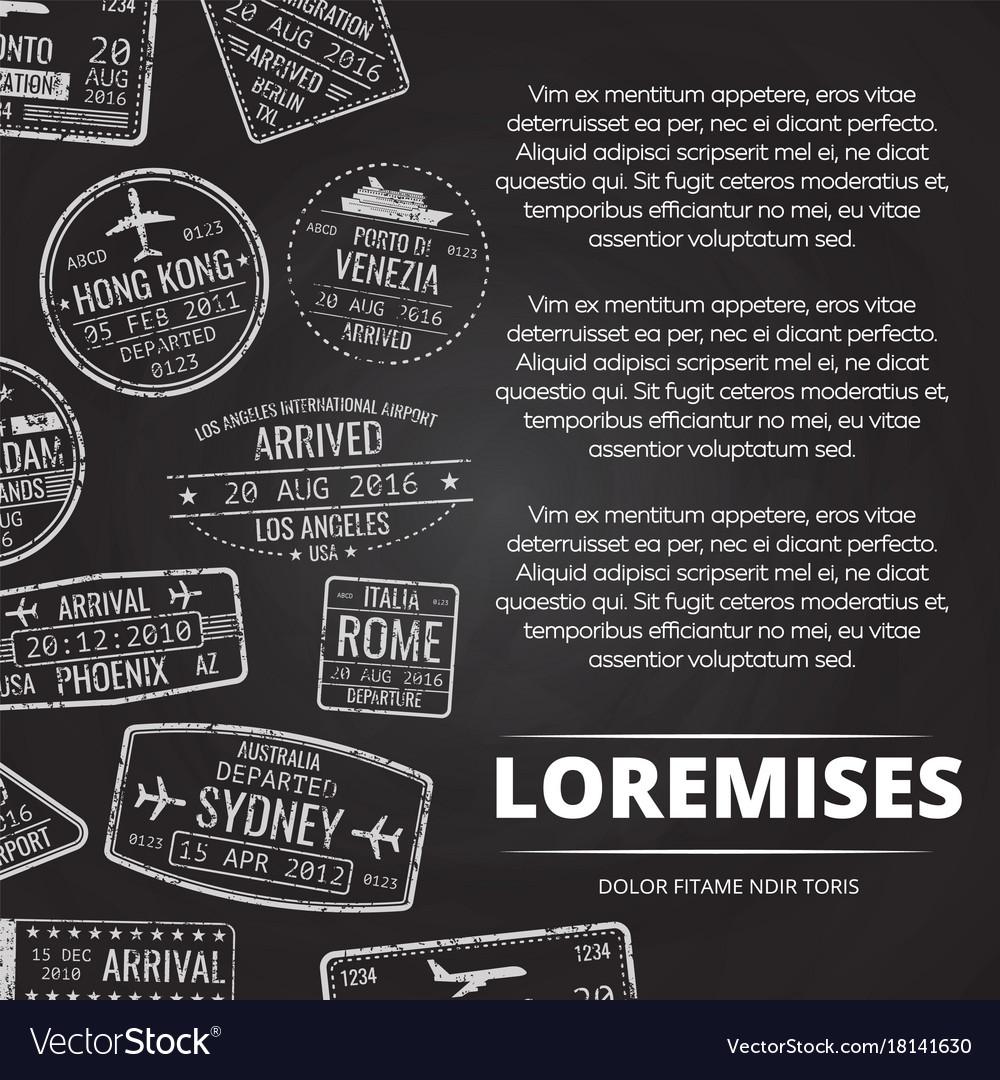 Grunge international airport passport stamps