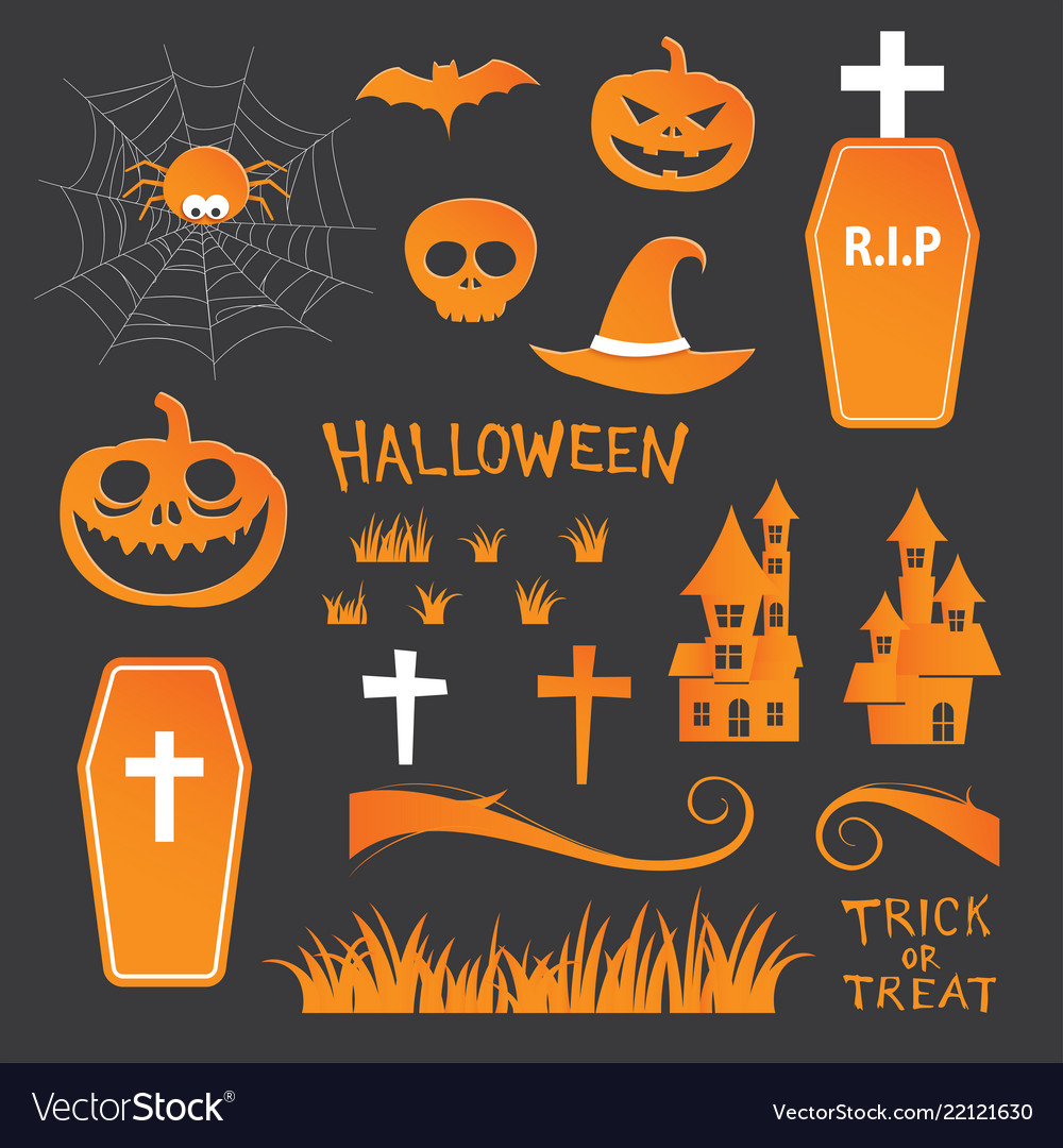 Halloween icon symbol object collection set