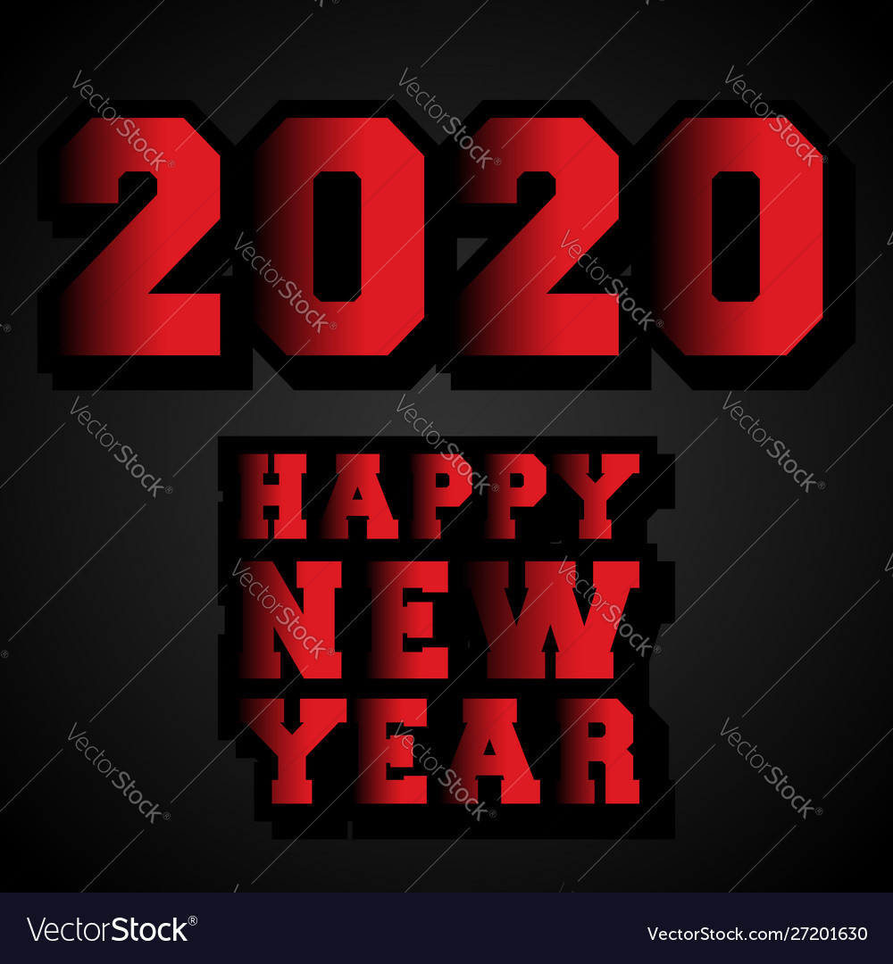 Happy new year 2020 typography design for holiday
