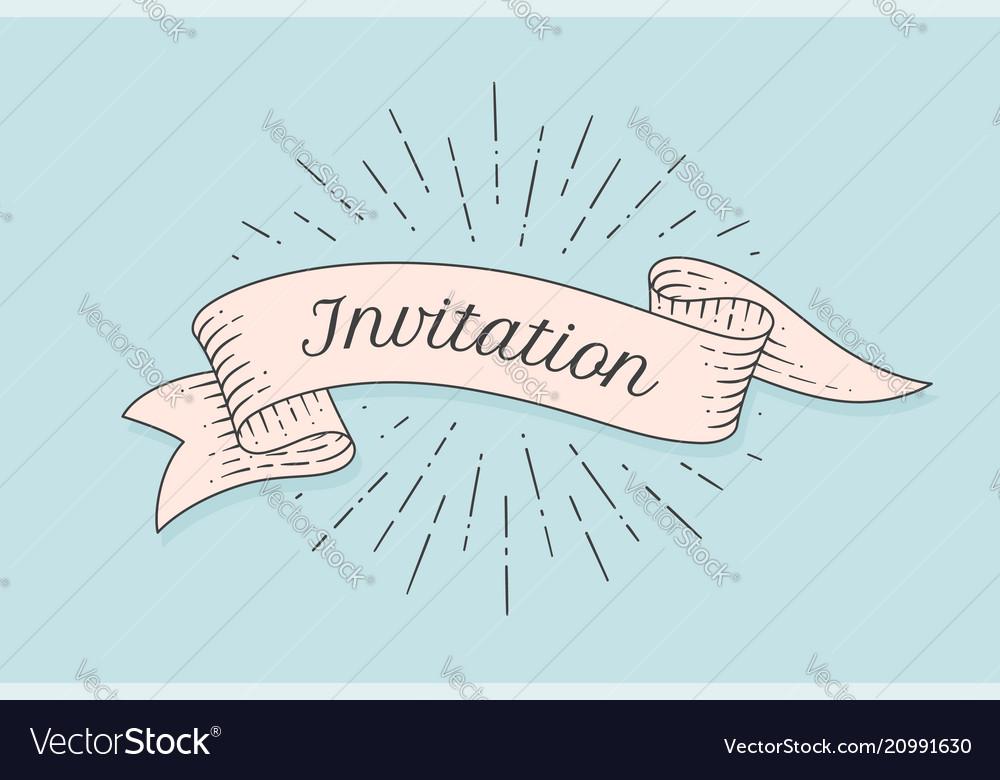 Invitation old ribbon banner