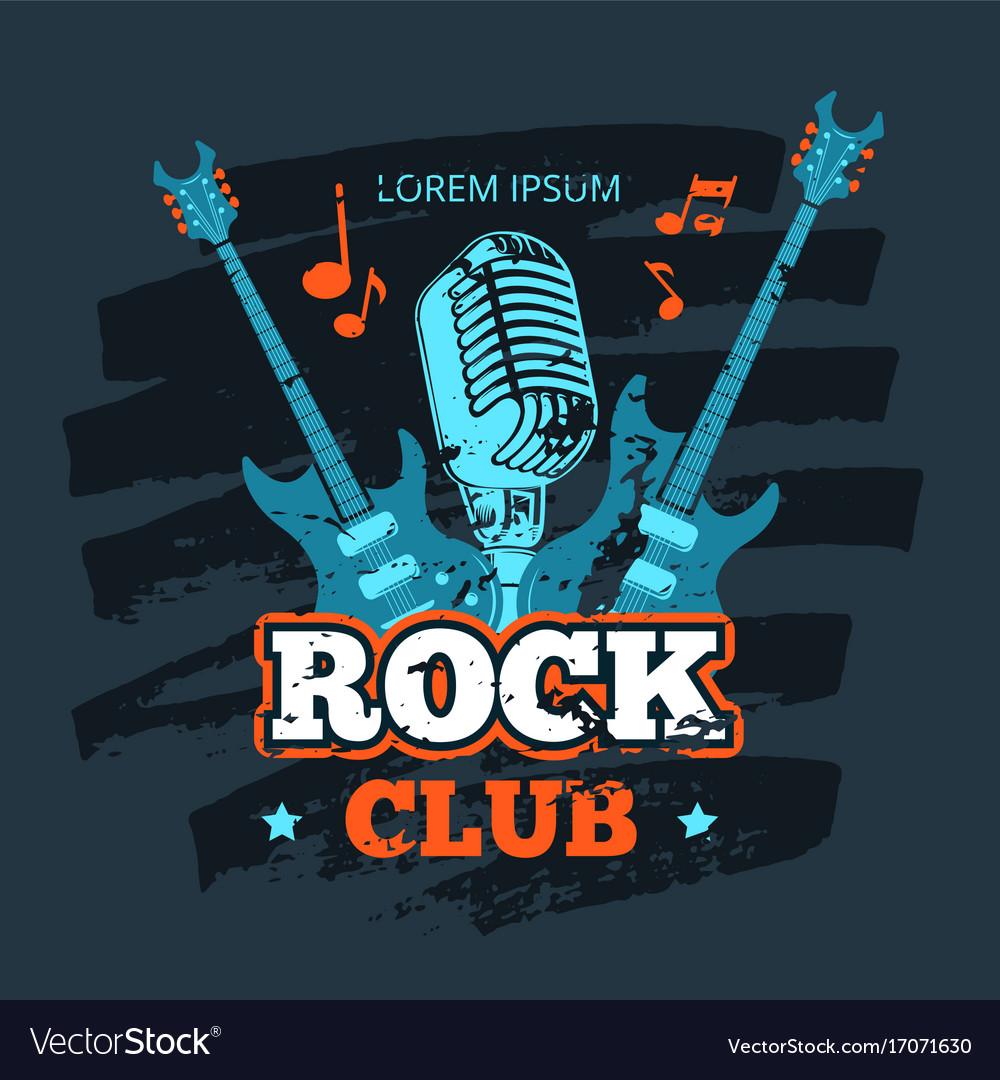 Retro rock guitar and microphone music club