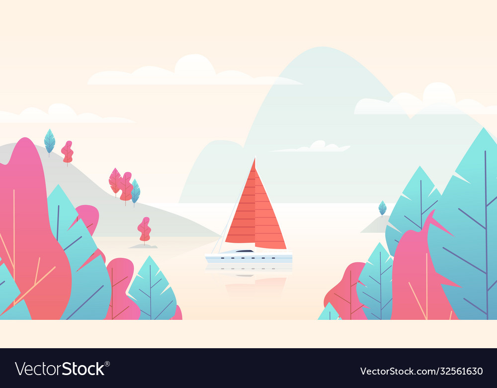 Sailboat panorama with pond mountain nature scene
