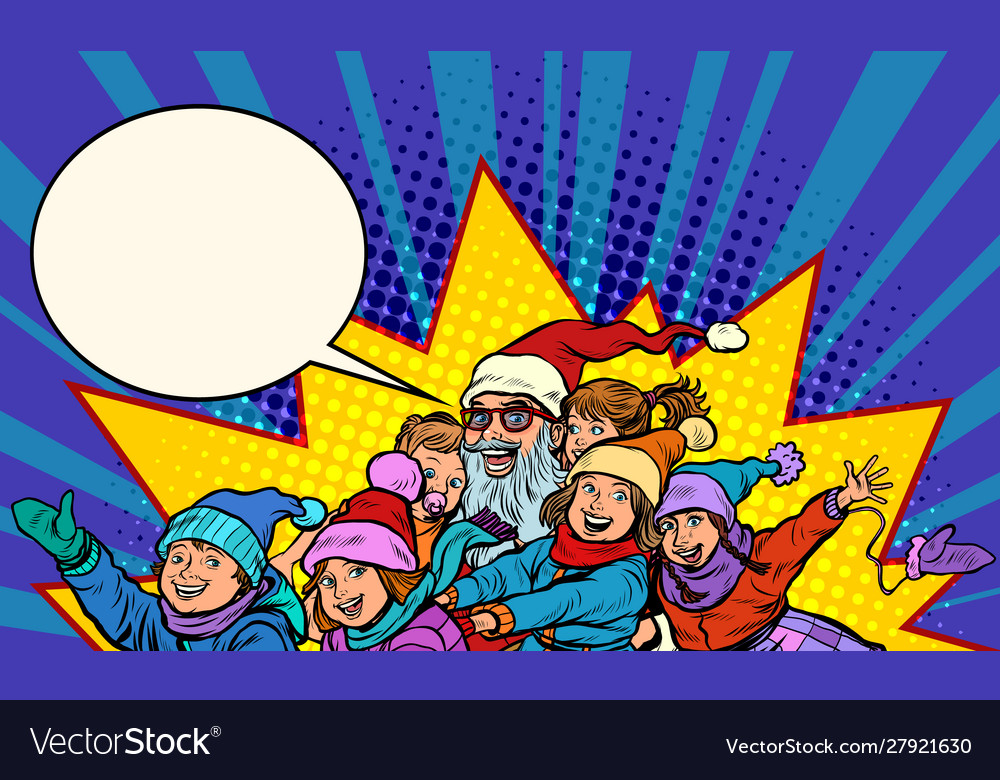 Santa claus with children christmas and new year vector