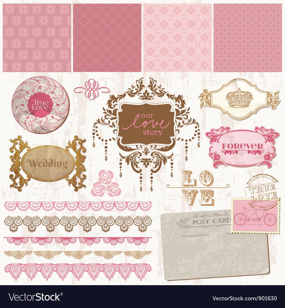 Scrapbook design elements - Vintage Wedding Set