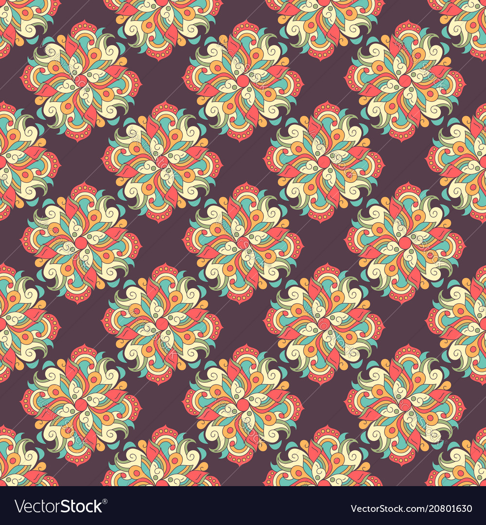 Seamless hand drawn pattern with ethnic