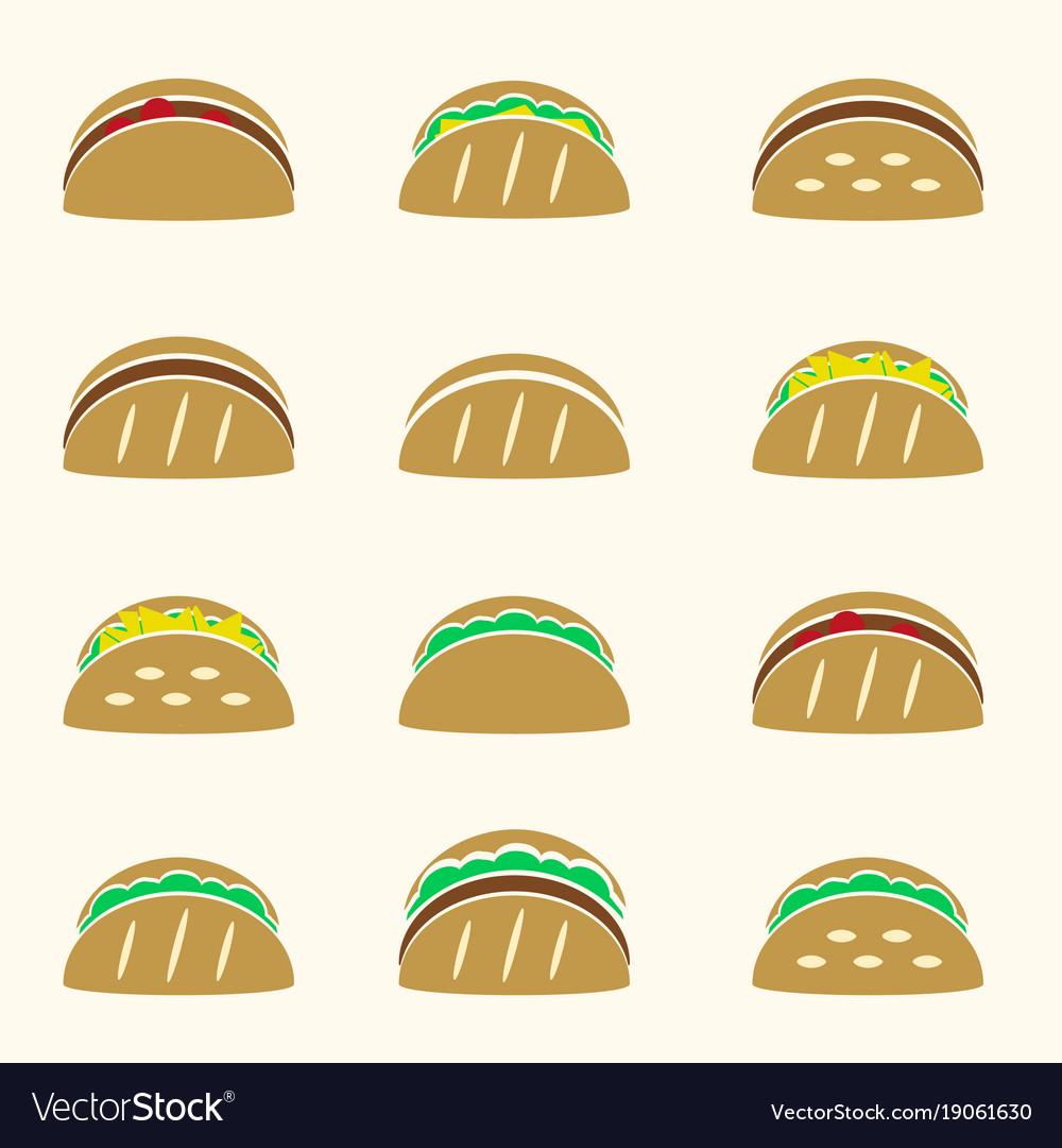 Set of color tortilla tacos food icons set eps10