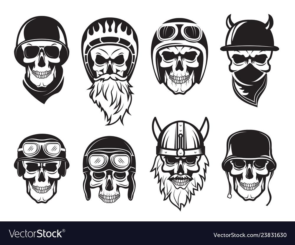 Skull bandana helmet bikers rock symbols tattoo
