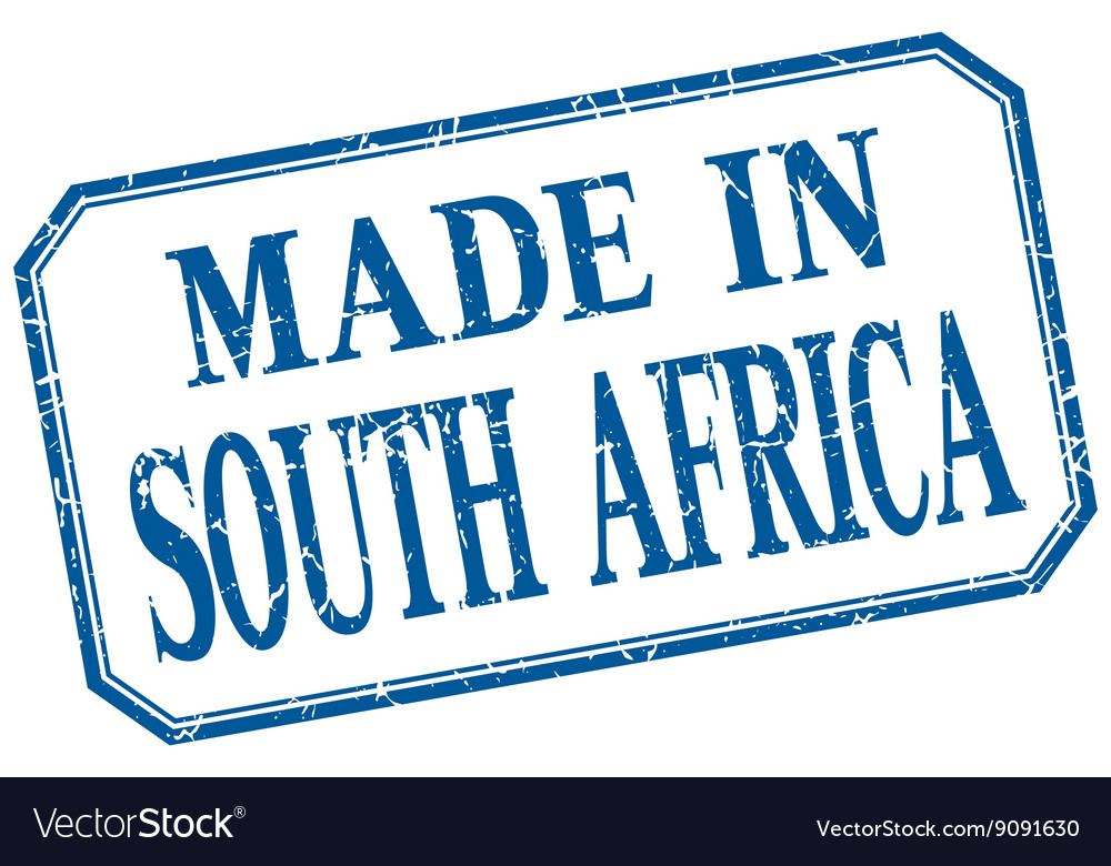 South Africa - made in blue vintage isolated label