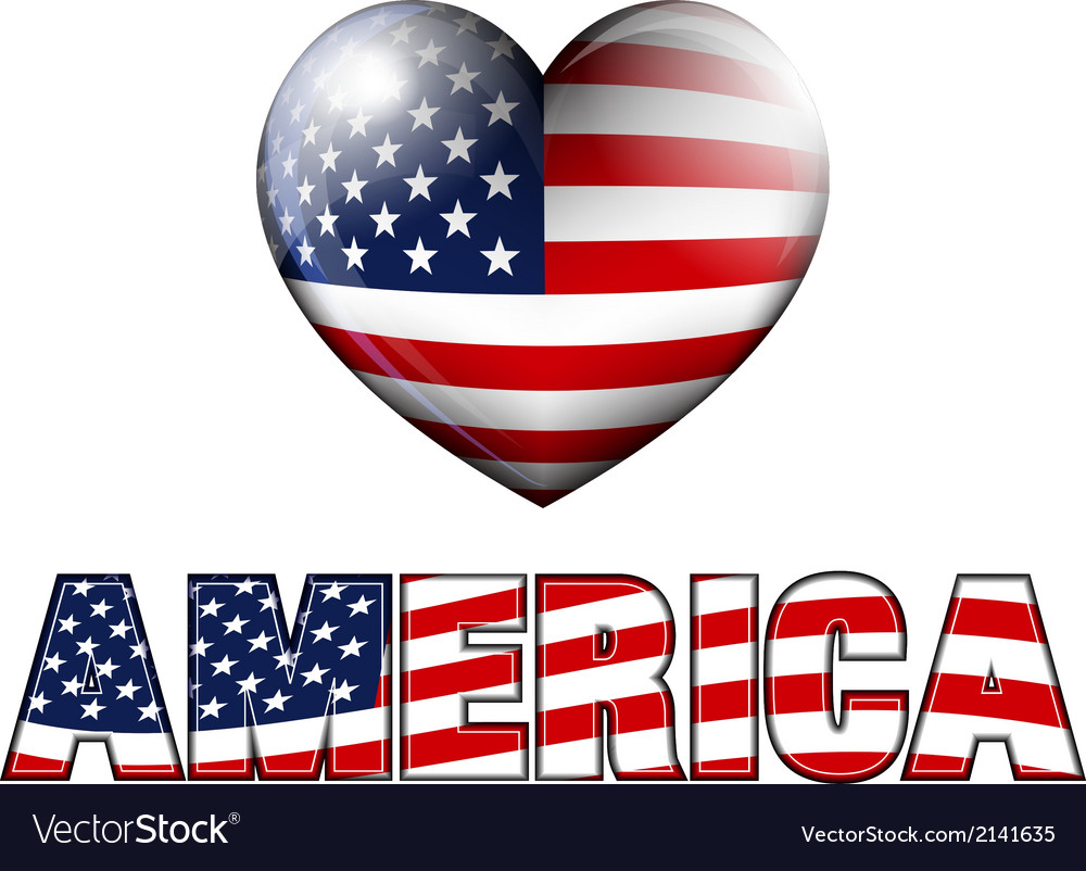 AMERICA with Heart Icon