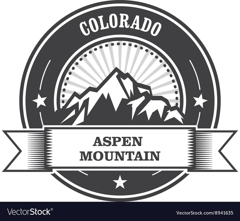 Aspen Colorado - mountain peak round stamp