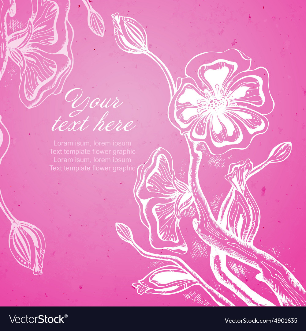 Card with graphic stylized cherry blossom