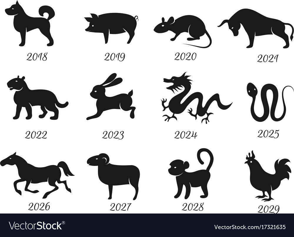 Chinese Horoscope Zodiac Animals Symbols Vector Image