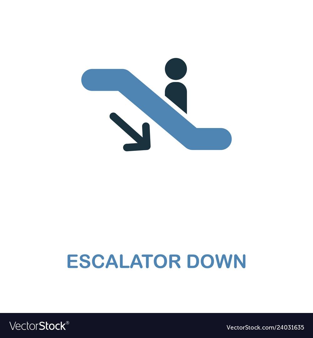 Escalator down icon monochrome style design from