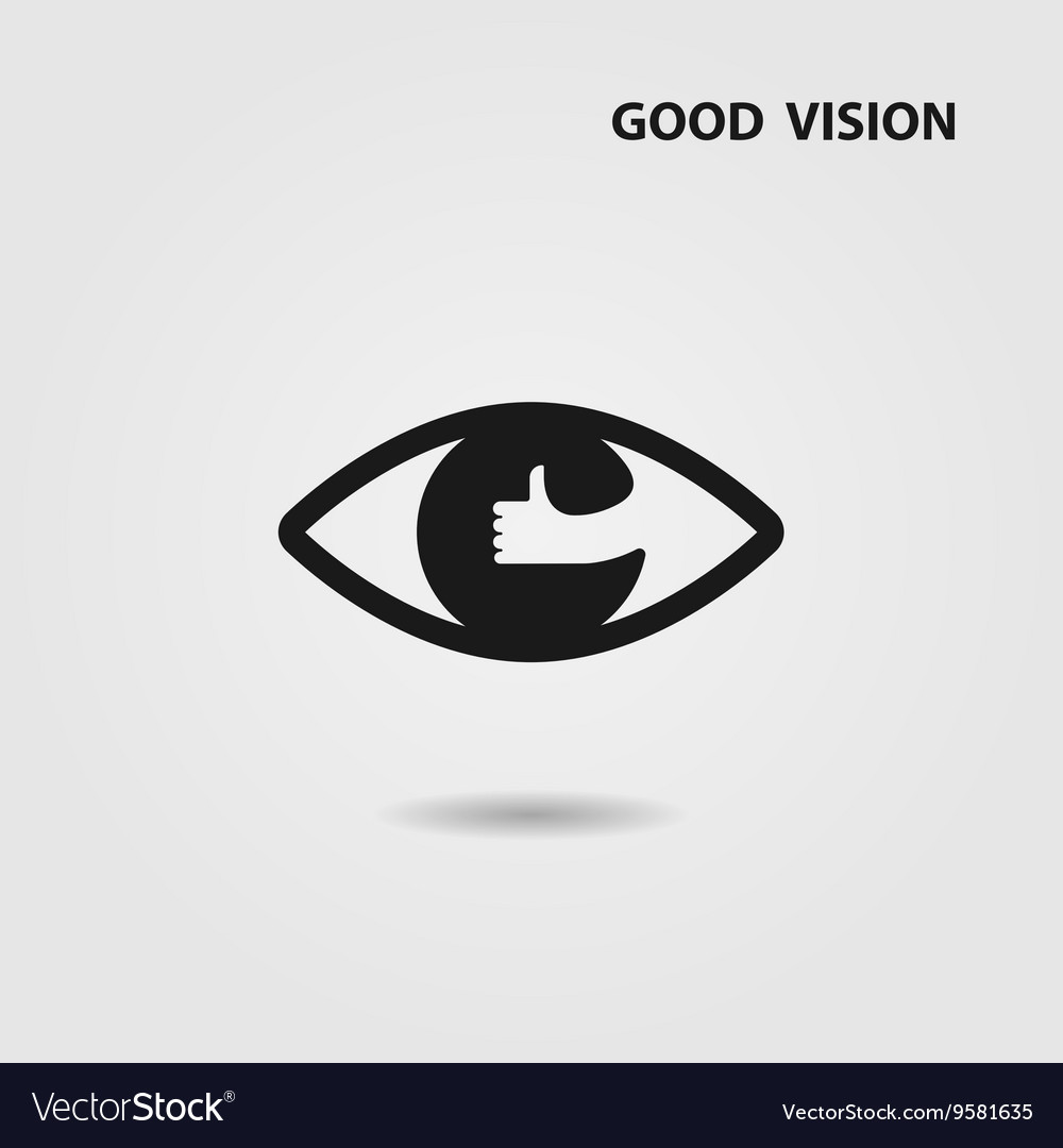 Eye Icon And Hand Sign Royalty Free Vector Image