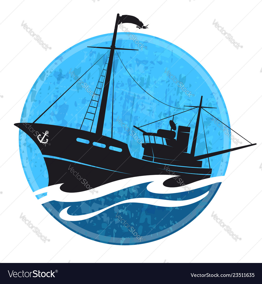 Fishing Boat Silhouette On The Wave Royalty Free Vector