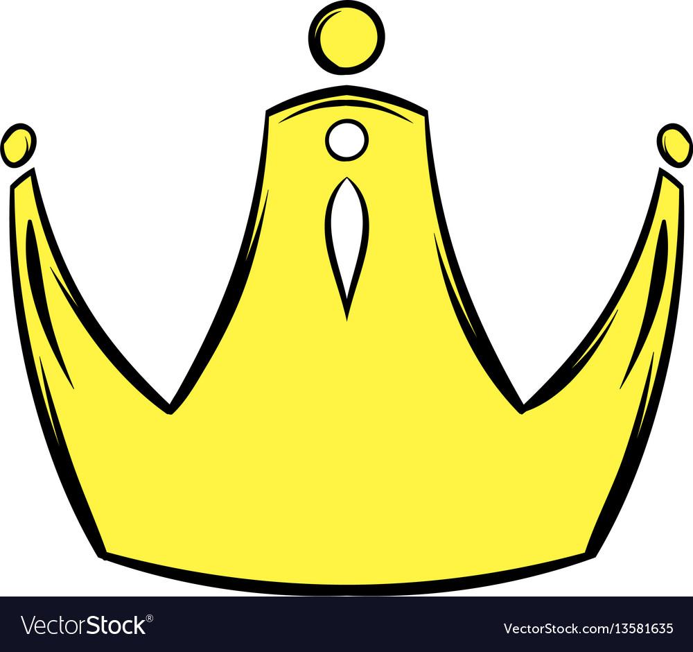 Golden crown icon cartoon