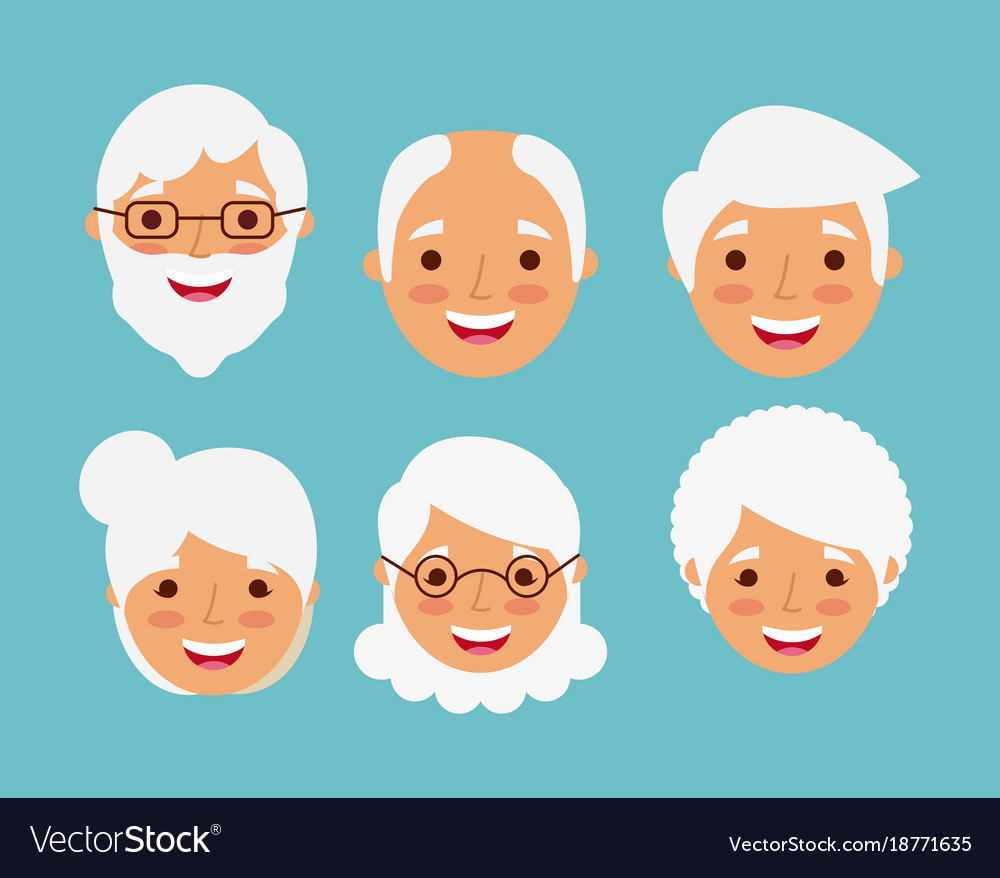 Grandparents faces happy smiling elderly character vector image