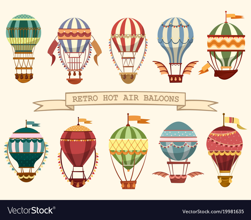 Icons vintage hot air balloons with flags