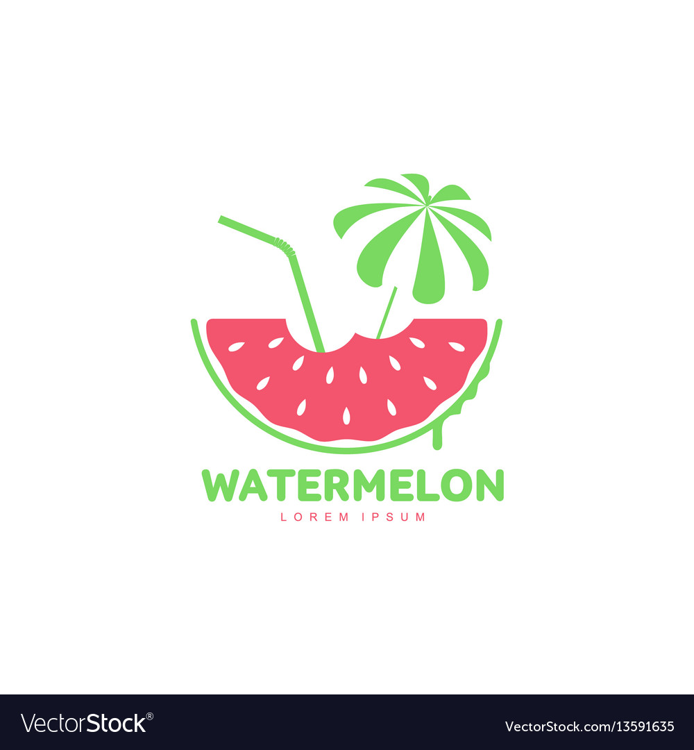 Logo template with watermelon beach umbrella and
