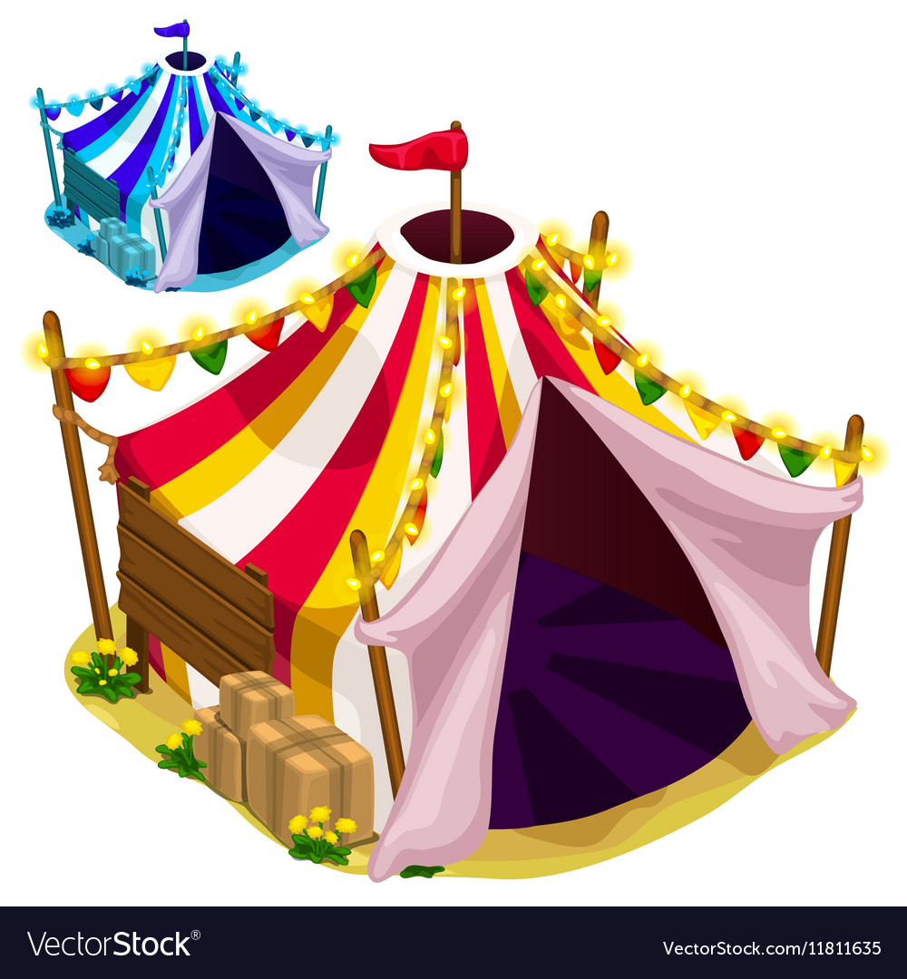 Open a festive circus tent isolated