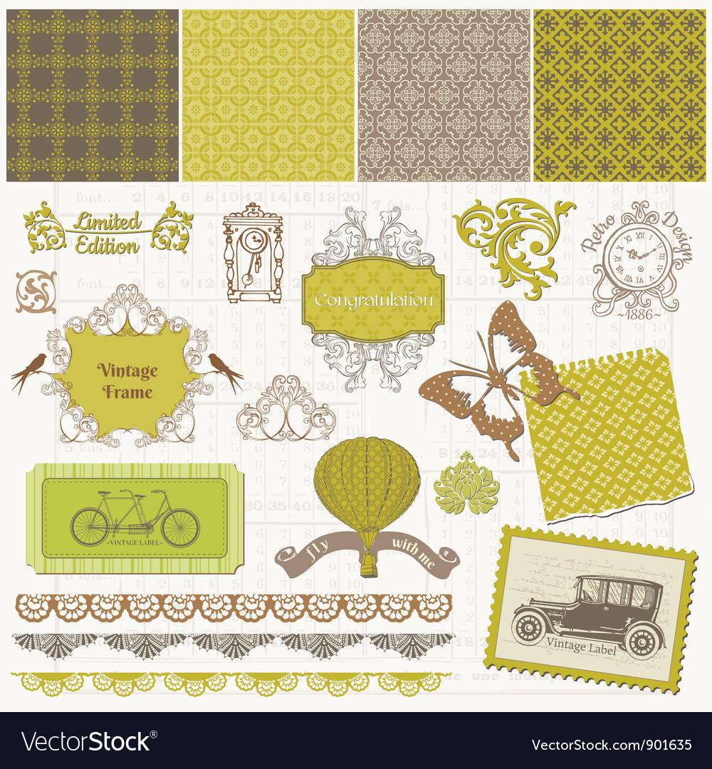 Scrapbook Design Elements - Vintage Time Set