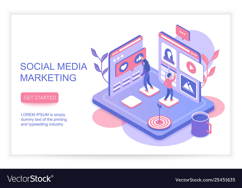 Social media marketing infographics concept with