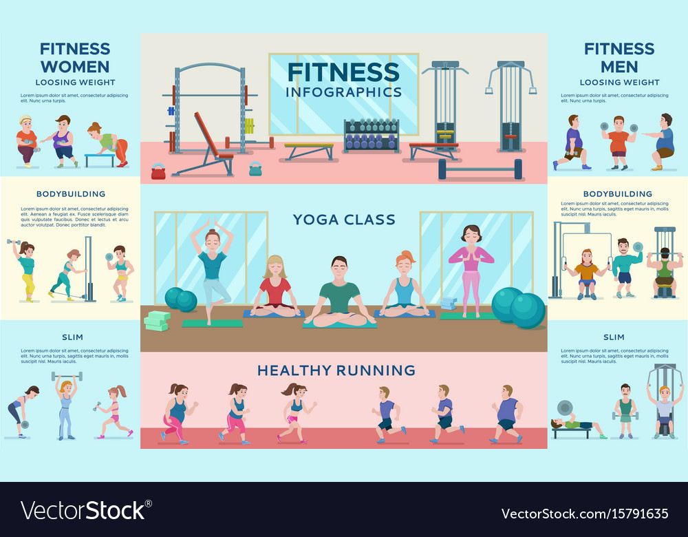 Sport fitness infographic horizontal banners vector image