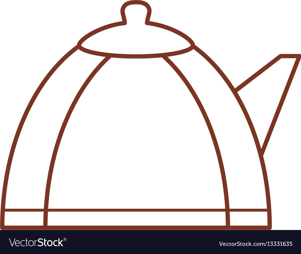 Teapot hot beverage out line vector image