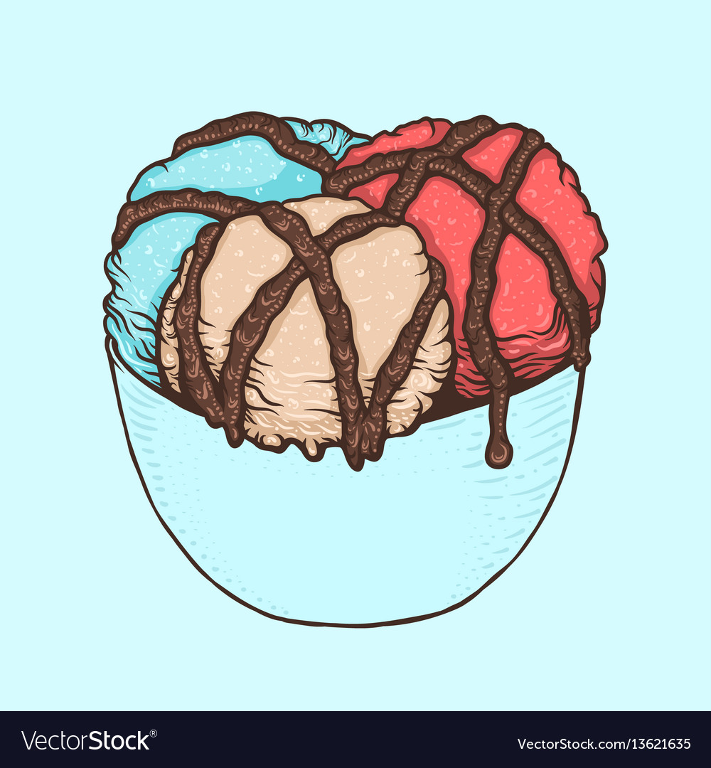 Three scoops of ice cream with chocolate sauce in vector image
