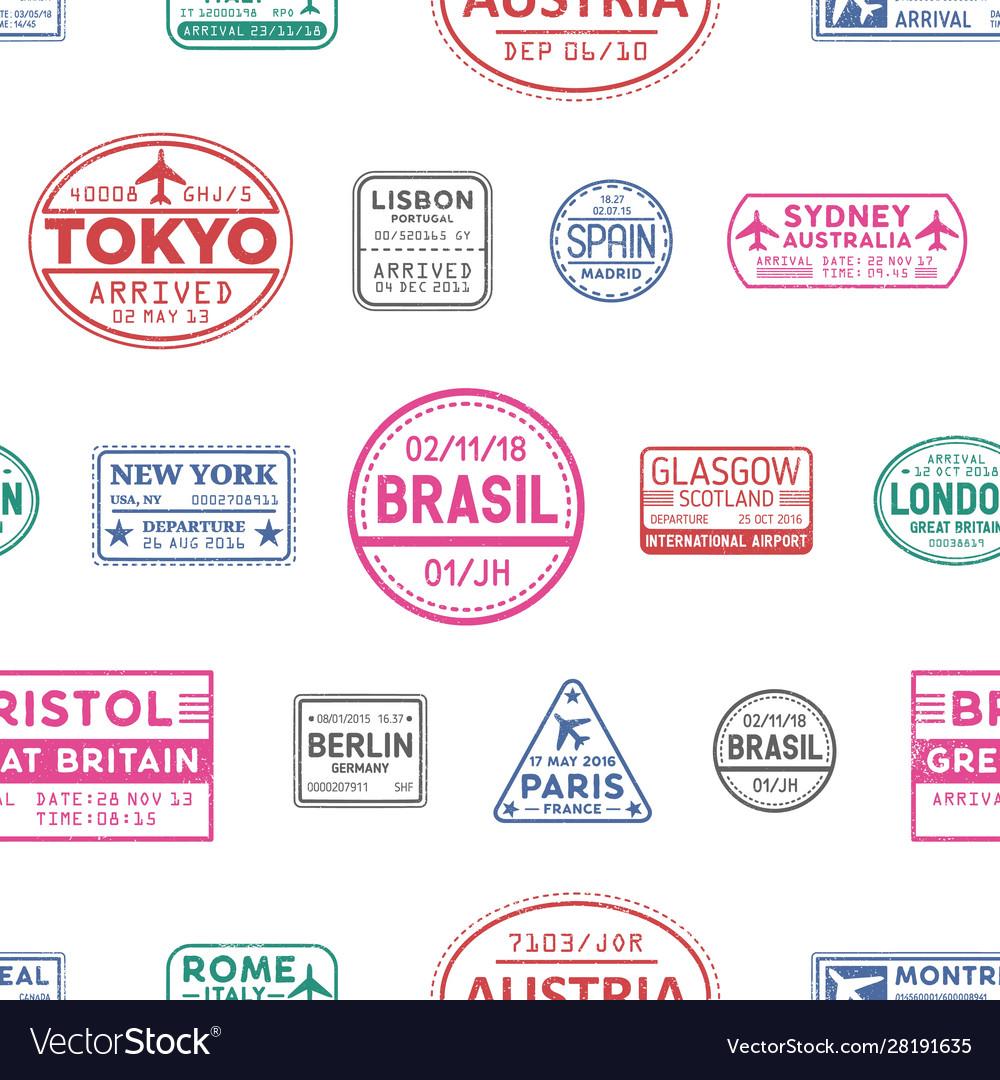 Visa stamps seamless pattern lisbon tokyo