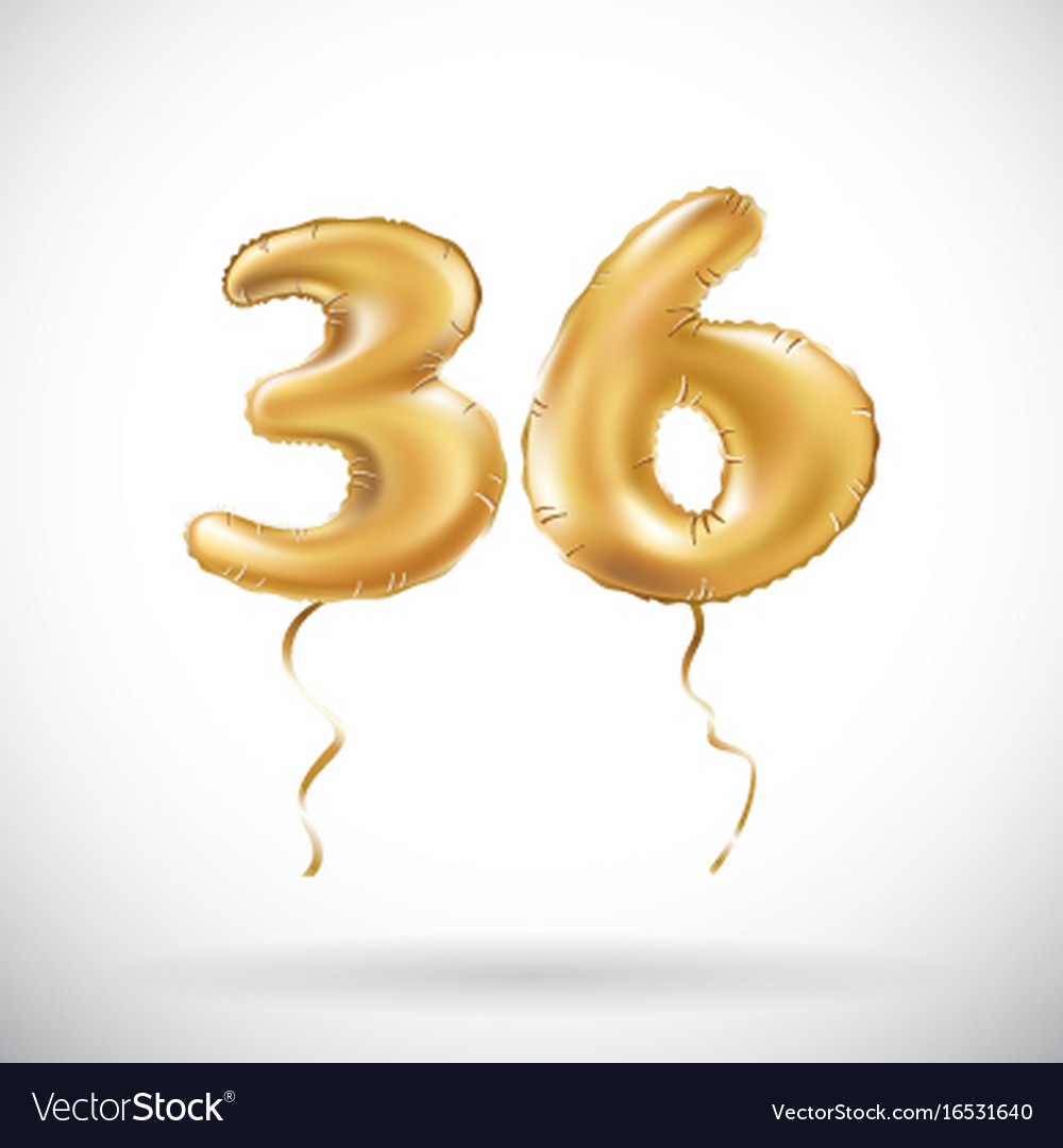 Golden number 36 thirty six metallic balloon